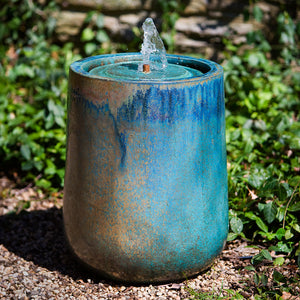 Terra Cotta Fountain with Weathered Copper Glaze