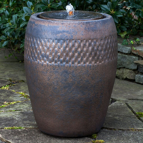 Tall Glazed Terra Cotta Fountain with Patterned Band– Bronze