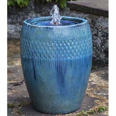 Tall Round Garden Fountain - Blue