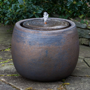 Concentric Rings Glazed Terra Cotta Fountain – Bronze