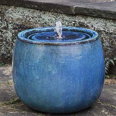 Textured Round Garden Fountain - Blue