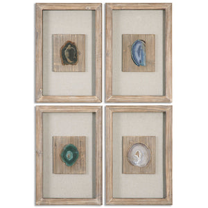 Multicolored Agates Shadow Box Wall Art – Set of 4