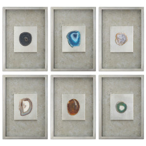 Multicolored Agate Silver Shadow Box Wall Art – Set of 6