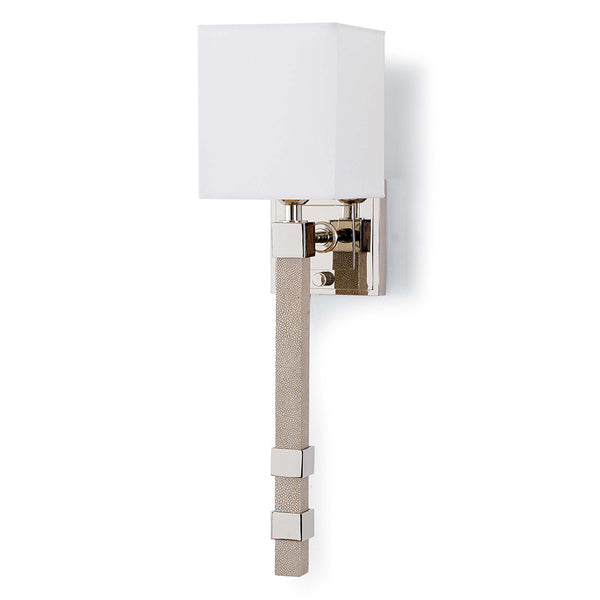 Regina Andrew Faux Shagreen Sconce with Box Shade – Ivory Grey