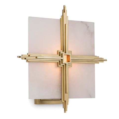 Regina Andrew Deco Alabaster Cross Sconce – Natural Brass