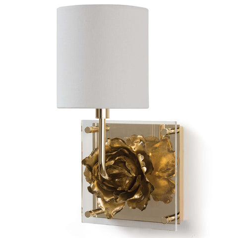 Regina Andrew Gold Leaf & Acrylic Blossom Sconce