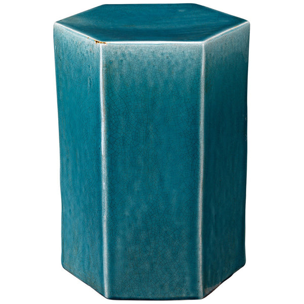 Large Ceramic Hexagonal Accent Table – Blue