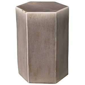 Large Ceramic Hexagonal Accent Table – Grey