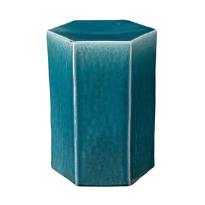 Small Ceramic Hexagonal Accent Table – Blue