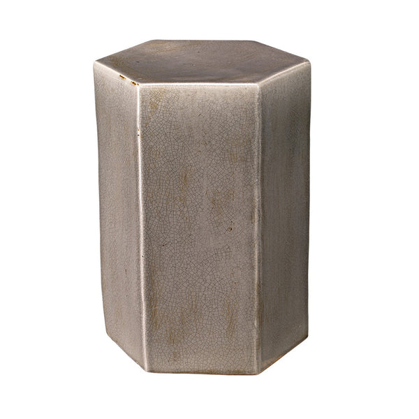Small Ceramic Hexagonal Accent Table – Grey