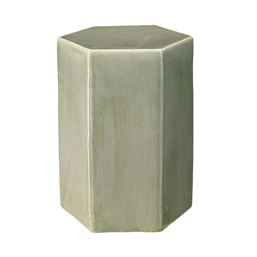 Small Ceramic Hexagonal Accent Table – Green