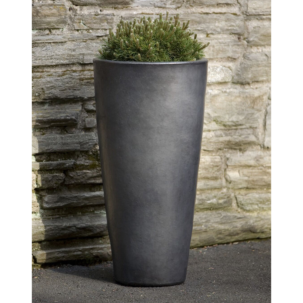 Tall Glazed Terra Cotta Tapered Round Planter – Graphite