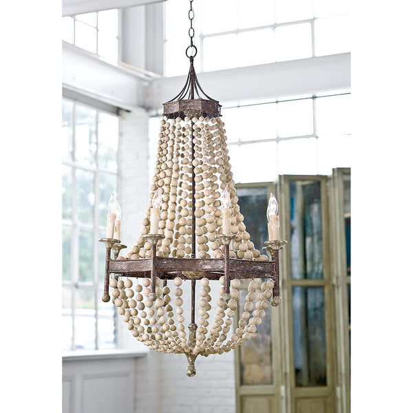 Regina Andrew Wooden Beads Chandelier