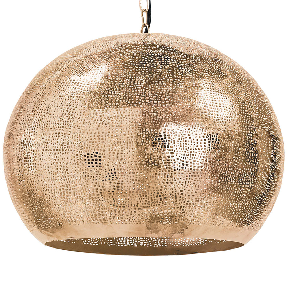 Regina Andrew Pierced Metal Sphere Pendant – Natural Brass