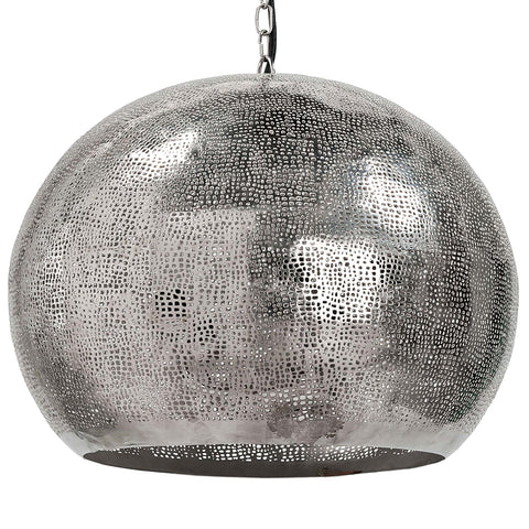 Regina Andrew Pierced Metal Sphere Pendant – Polished Nickel