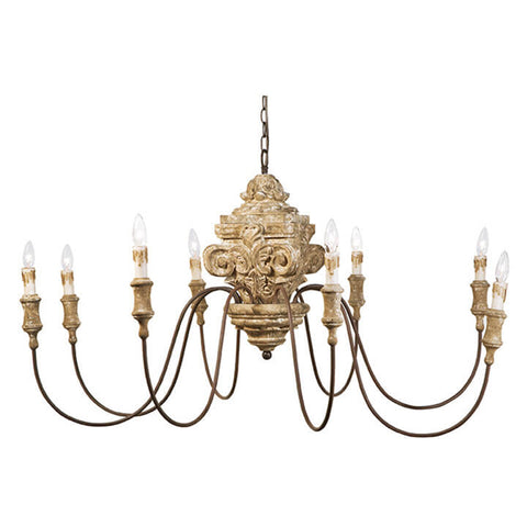 Regina Andrew Extra Large Carved Wood Chandelier – Distressed