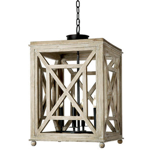 Regina Andrew 4-Bulb Wood Lattice Lantern Pendant