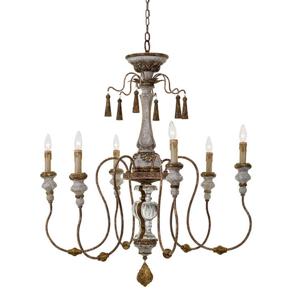 Regina Andrew Ornate 6-Bulb Chandelier – Distressed