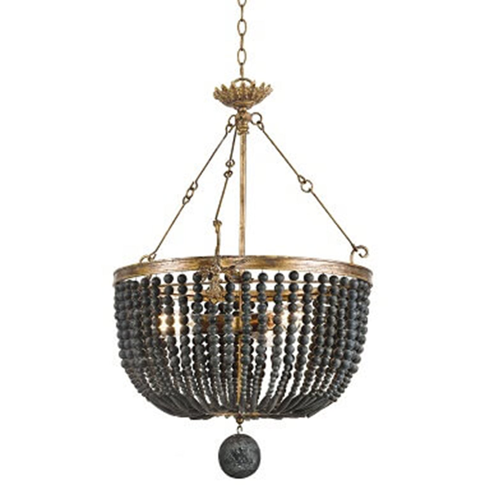 Regina Andrew Draped Wooden Beads Chandelier – Black
