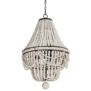 Regina Andrew Draped Wooden Beads Chandelier – White