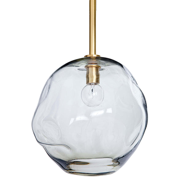Regina Andrew Large Molten Smoke Glass Pendant – Natural Brass