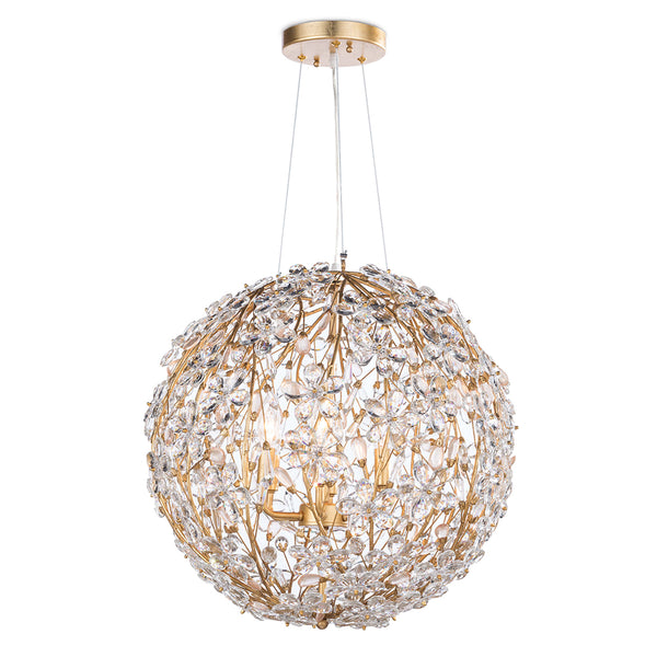 Regina Andrew Small Globe Chandelier with Crystal Flowers – Gold Leaf