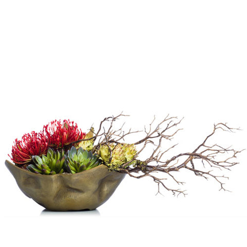 Faux Manzanita & Pincushion in Small Gold Bowl