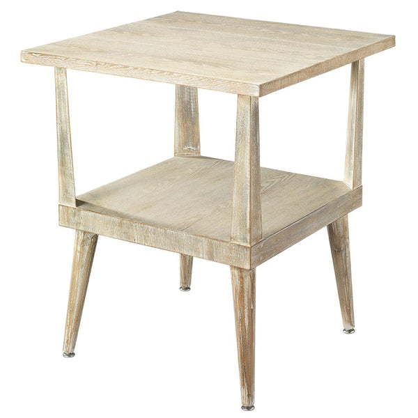 Neo-Traditional Grey Washed Wooden Side Table