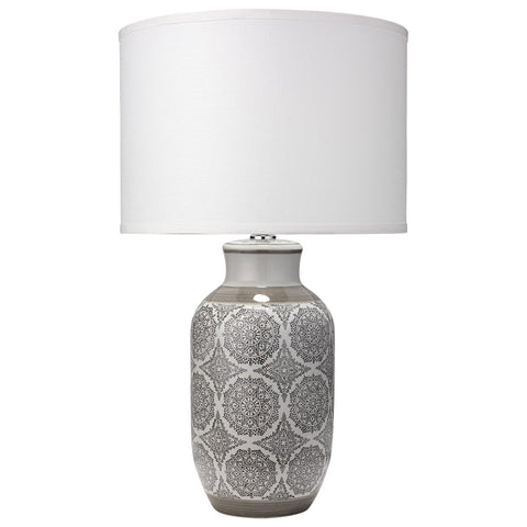 Grey Patterned Ceramic Table Lamp with Classic Drum Shade