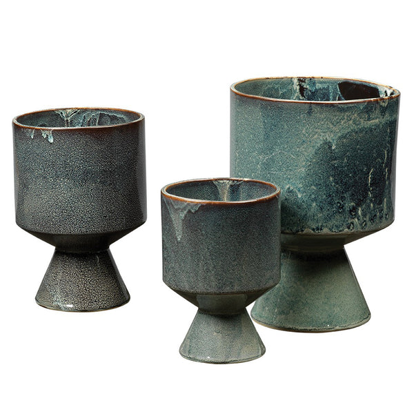 Royal Blue Ceramic Chalice Pots – Set of 3