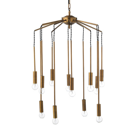 12-Light Modern Cascade Pendant – Antique Brass