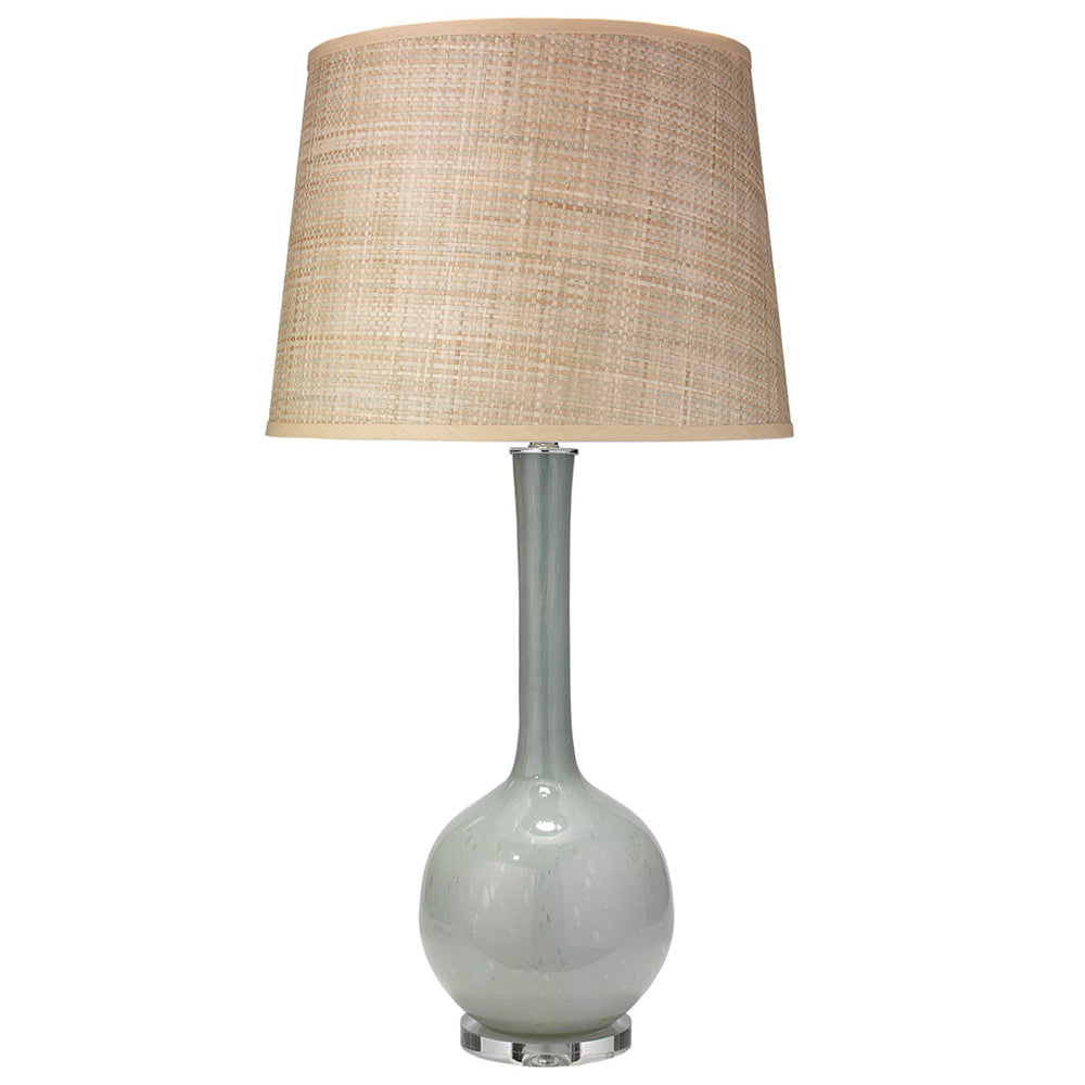 Bulb Vase Table Lamp with Large Open Cone Shade – Pale Blue