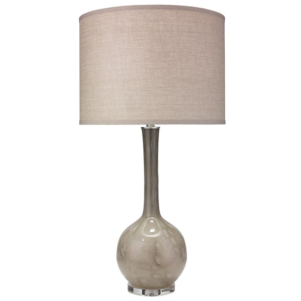Bulb Vase Table Lamp with Large Drum Shade – Taupe