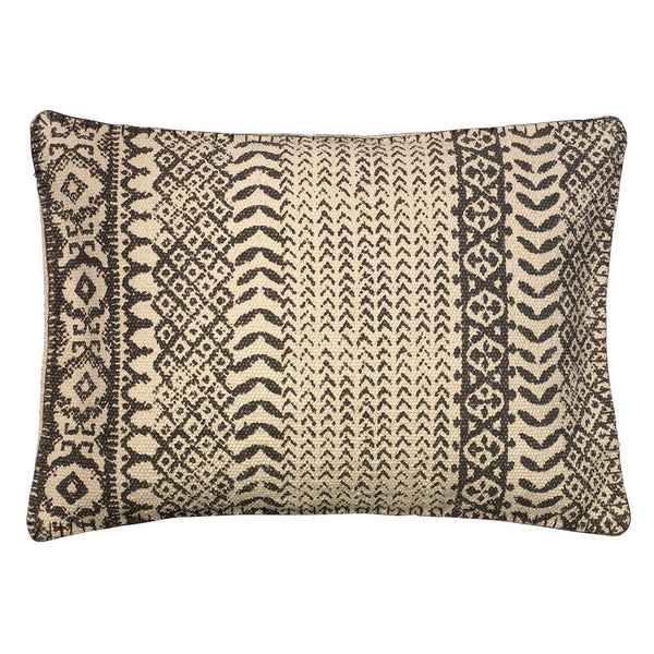 Rectangular Hand Printed Intricate Pattern Pillow – Dark Grey