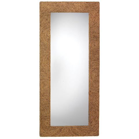 Oversized Natural Seagrass Framed Mirror