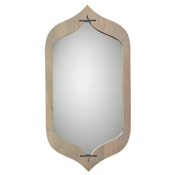 Mango Wood Peaked Frame Mirror – Grey Washed