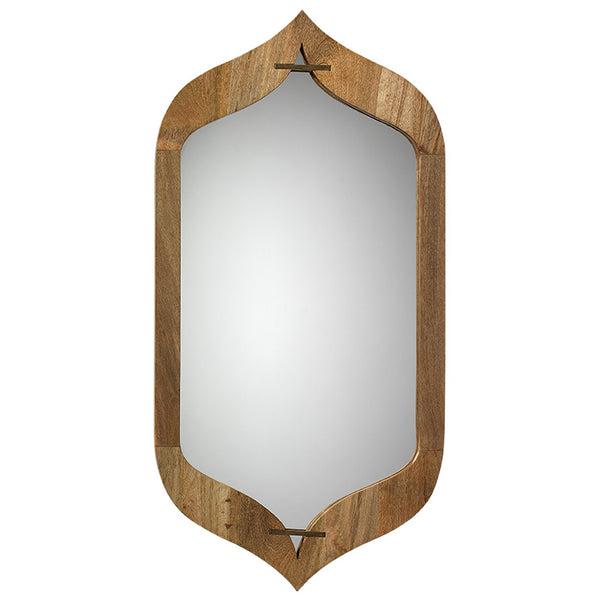Mango Wood Peaked Frame Mirror – Natural
