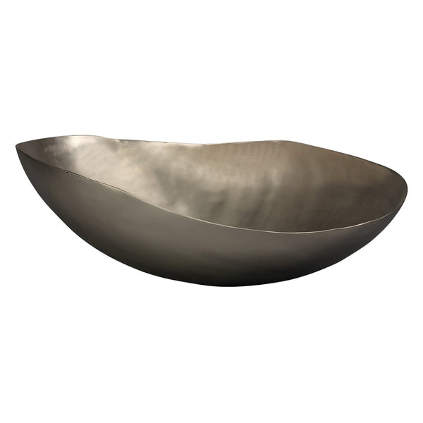 Large Aluminum Decorative Bowl – Matte Silver