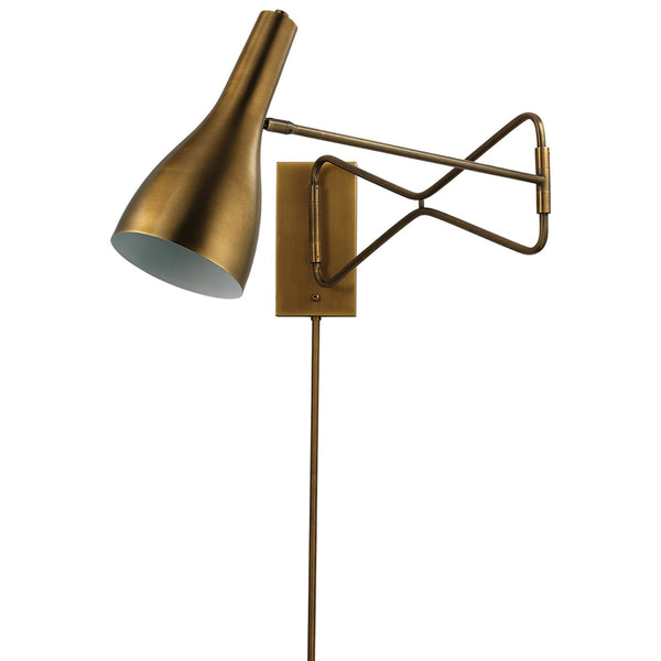 Mid-Century Modern Swing Arm Wall Sconce – Antique Brass