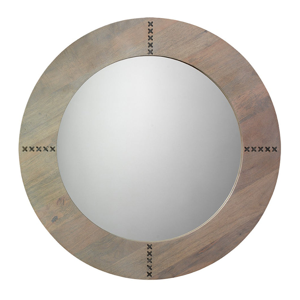 Round Mango Wood Mirror with Antique Silver Accents – Grey Washed