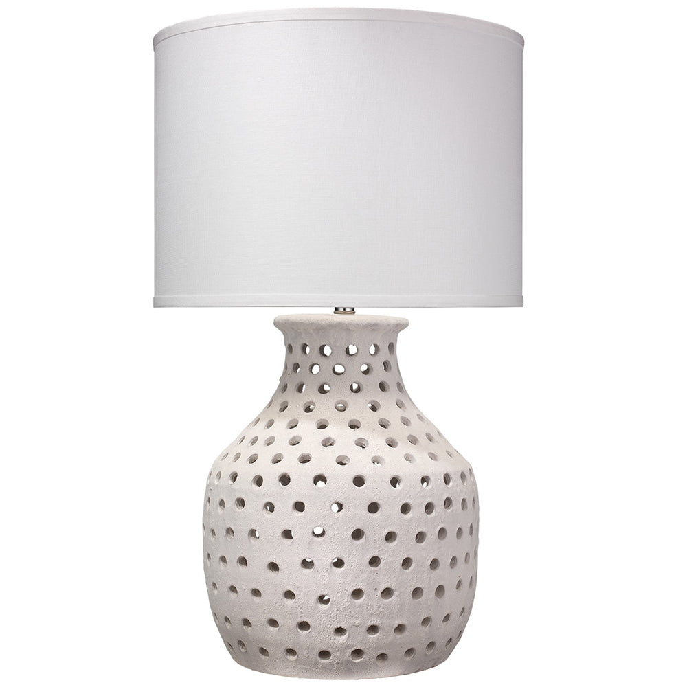 Porous White Ceramic Table Lamp With Large Drum Shade