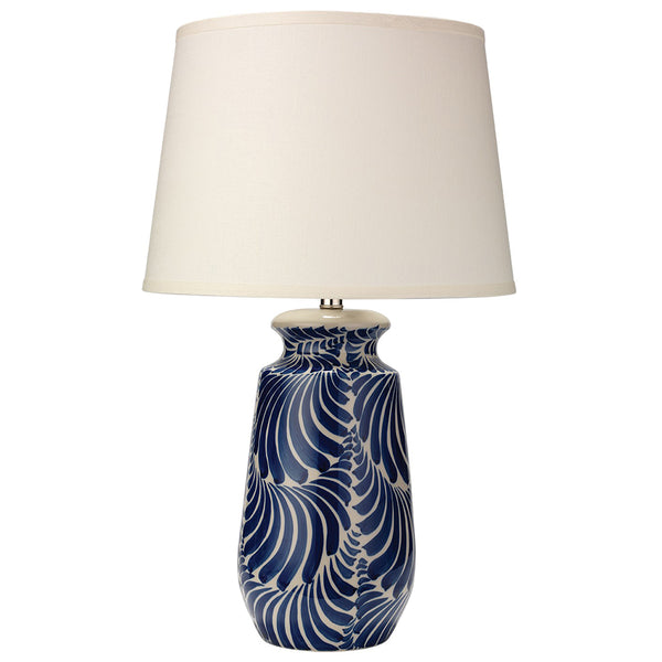 Blue & White Organic Pattern Ceramic Table Lamp with Cone Shade
