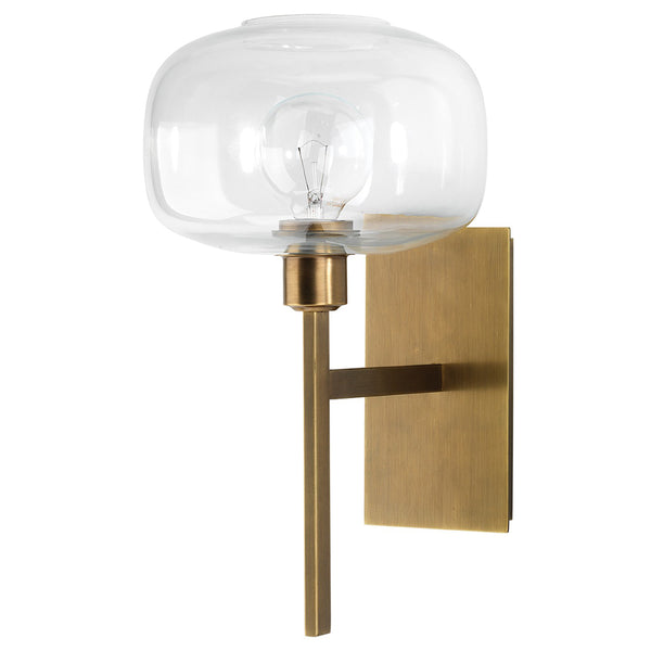 Mod Blown Glass Globe Wall Sconce – Antique Brass