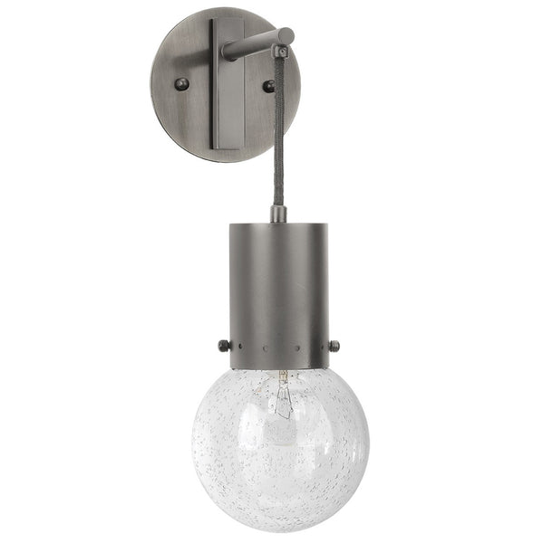 Industrial Seeded Glass Globe Pendant Wall Sconce – Gun Metal