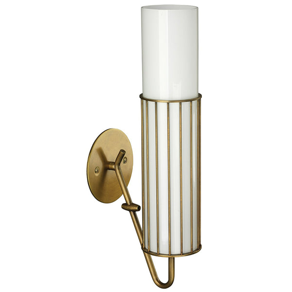 Glass Cylinder & Metal Cage Wall Sconce – Antique Brass