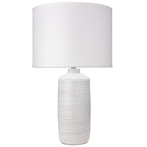 White Swirl Ceramic Table Lamp with Large Drum Shade