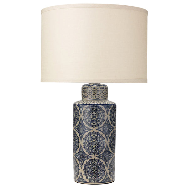 Blue Patterned Ceramic Table Lamp with Drum Shade