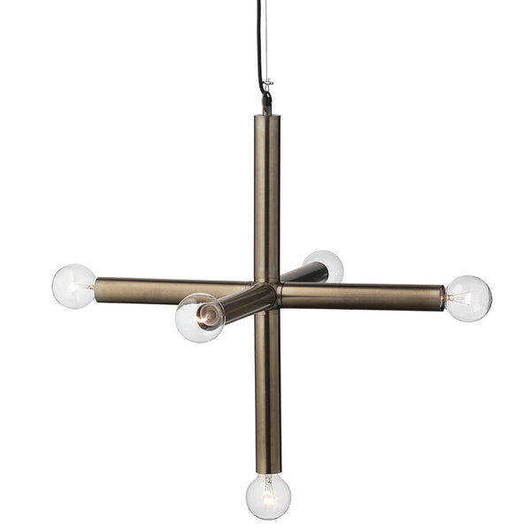 Large Industrial 5-Light Cross Pendant – Gun Metal