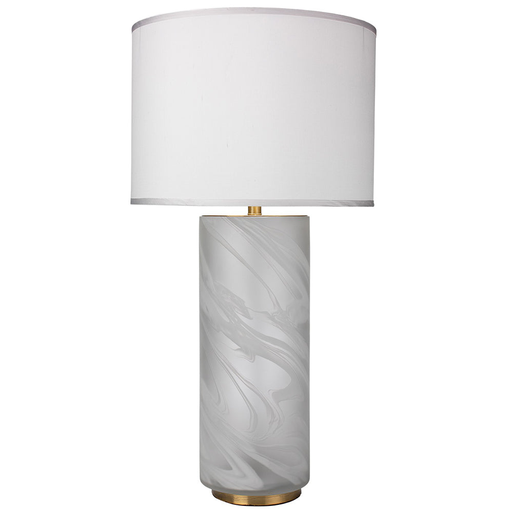 Large Swirl Pattern Glass Table Lamp With Large Drum Shade