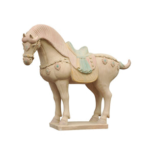 Decorative Ceramic Tang Saddled Horse Sculpture – Buff